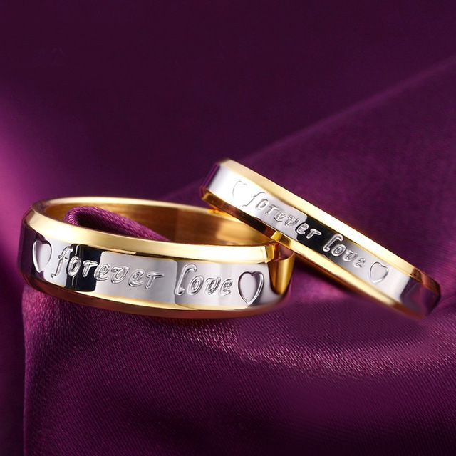 1pcs Never fade engagement silver plated forever Love letter jewerly accessories Women & Men wedding Couple Rings