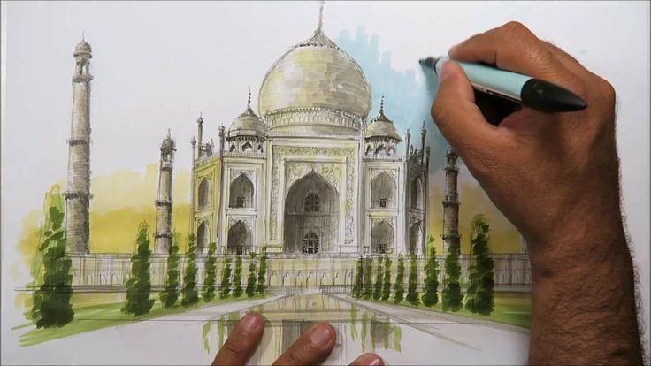 architectural sketching Taj Mahal