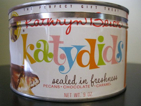 Katydids Candy in Tin Can   Vintage Kathryn Beich Katydids Candy Tin by colleenkays on Etsy