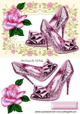PINK SPARKLE SHOES WITH PINK ROSE on Craftsuprint - Add To Basket!