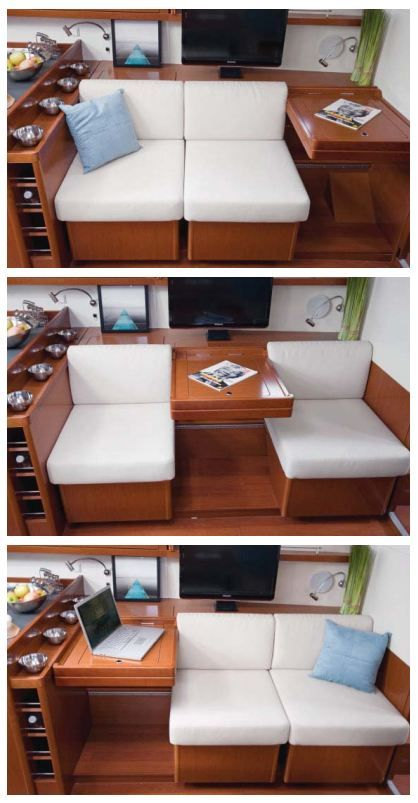 Beneteau Oceanis 45 convertible settee and nav station, available on the Oceanis 41, 45 & 48 www.MurrayYachtSales.com