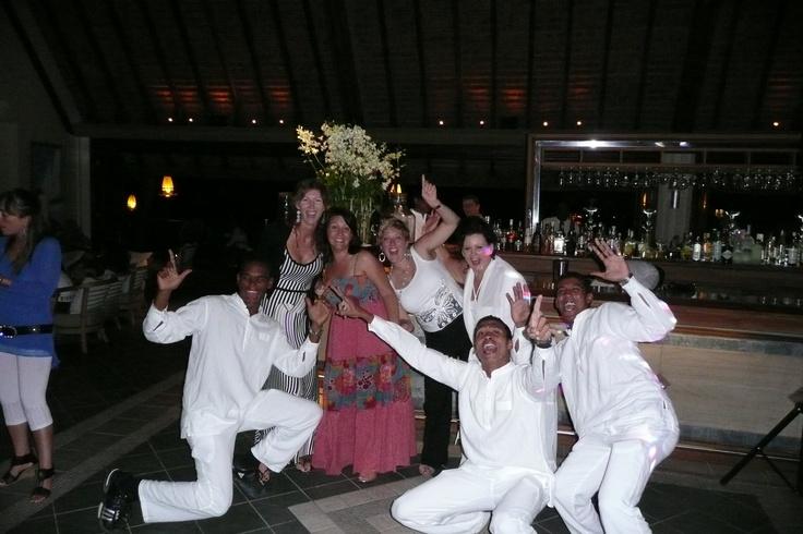 Having fun dancing in Mauritius!