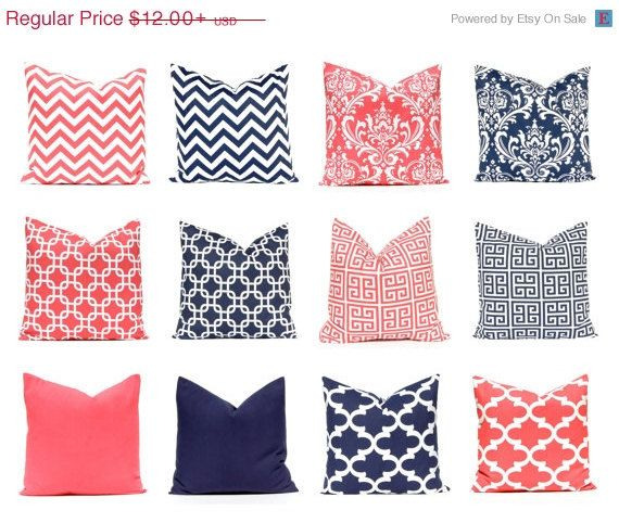 My most popular color combination in one easy listing. Mix and match coral and navy blue! Each print looks great with the next. You cant go