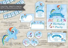 Rainbow Dash Birthday | Printable Party Decoration | My Little Pony Party Decorations | Rainbow Dash | My Little Pony | Cupcake Toppers(194) by kellylouisedesigns on Etsy