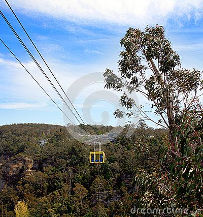 A cableway over the Blue Mountain Forest in New South Wales Australia