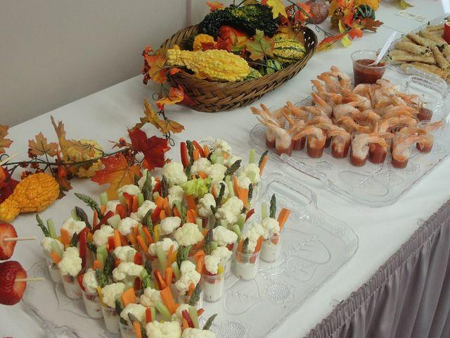 h'orderves, shrimp cocktails, veggies and more