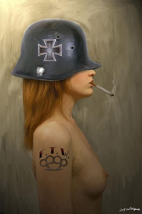 F.T.W. by David DeFigueredoTattoo Art Print Smoking Girl in an Iron Cross Helmet #PopArt