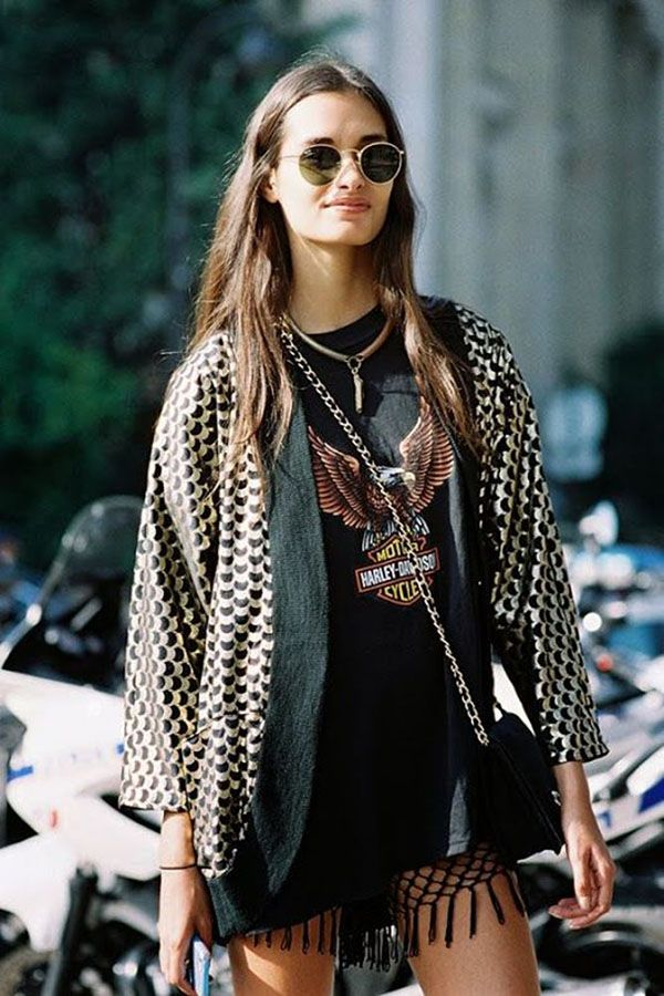 look rocker com kimono e harley davidson t-shirt