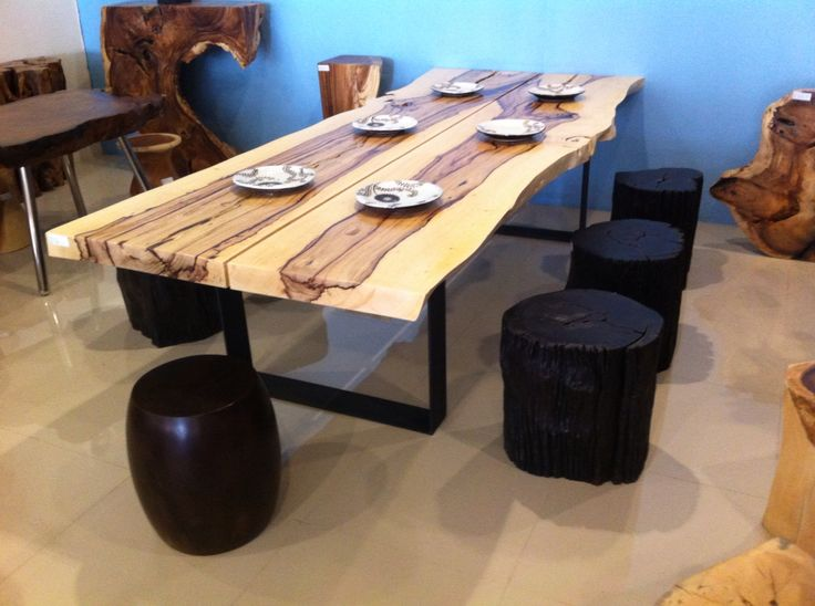 Amazing polished tamarind wood dining table - soon available in our showroom