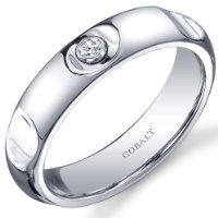 Revoni Solitaire Style 5mm Platinum Finish Notched Mens Cobalt Wedding Band Ring by Revoni
