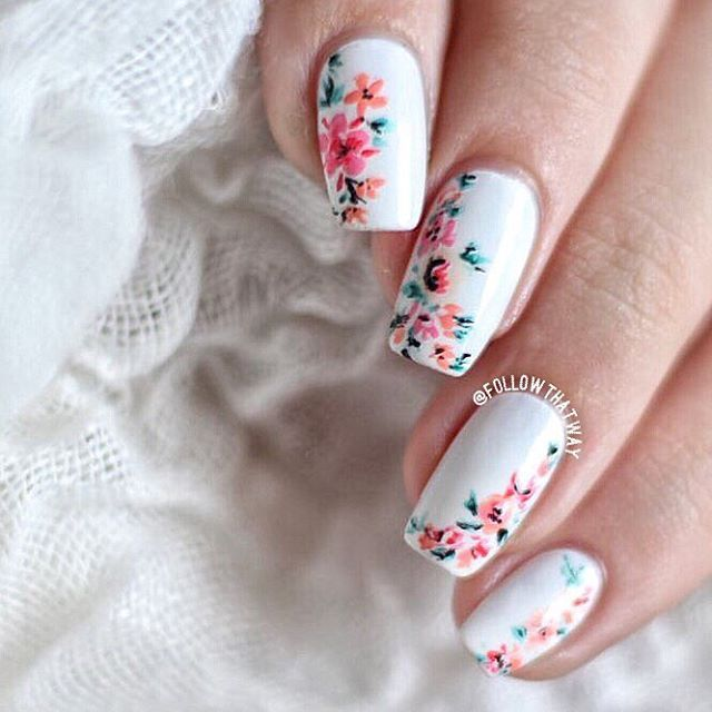 Best 25 white nail art ideas on pinterest prom nails prom another shot of these floral nails what should i call these video title ideas prinsesfo Image collections