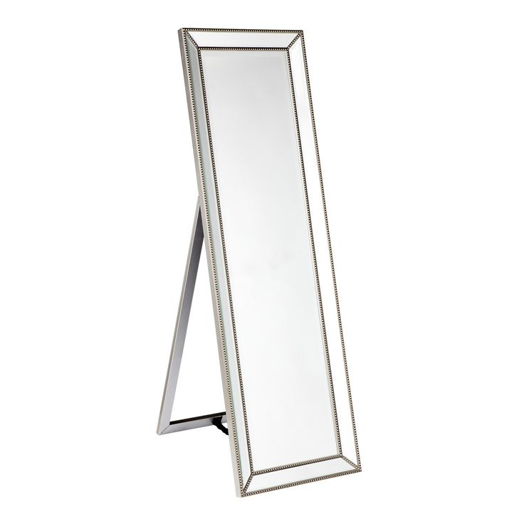 Zanthia Cheval Mirror with Stand  This beautiful antique style Cheval mirror has a silver beaded frame with clear mirror glass. It is finished with a generous 25mm bevelled edge.  A vertical floor stand is included  Dimensions:  480mm L x 50mm W x 1550mm H