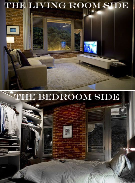 Use IKEA's Pax closet system for its sliding doors or use it as a freestanding closet divider. In this loft, the PAX system served as an entertainment center for the living room and a closet for the bedroom in a large loft space.