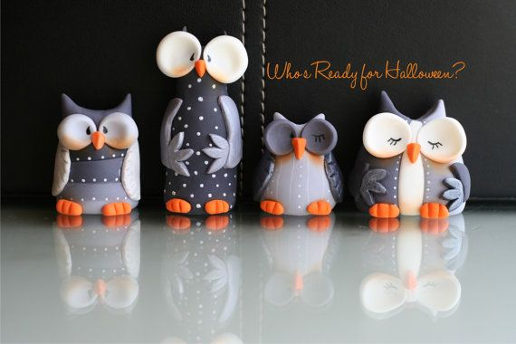 Fondant Whimsical Halloween Owls Set by SugarHighInc on Etsy, $36.00
