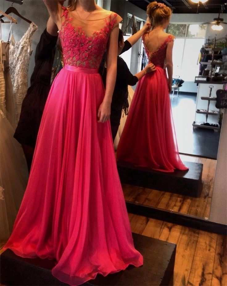 2017 Sexy V-Back Appliqued Chffion A-Line Long Prom