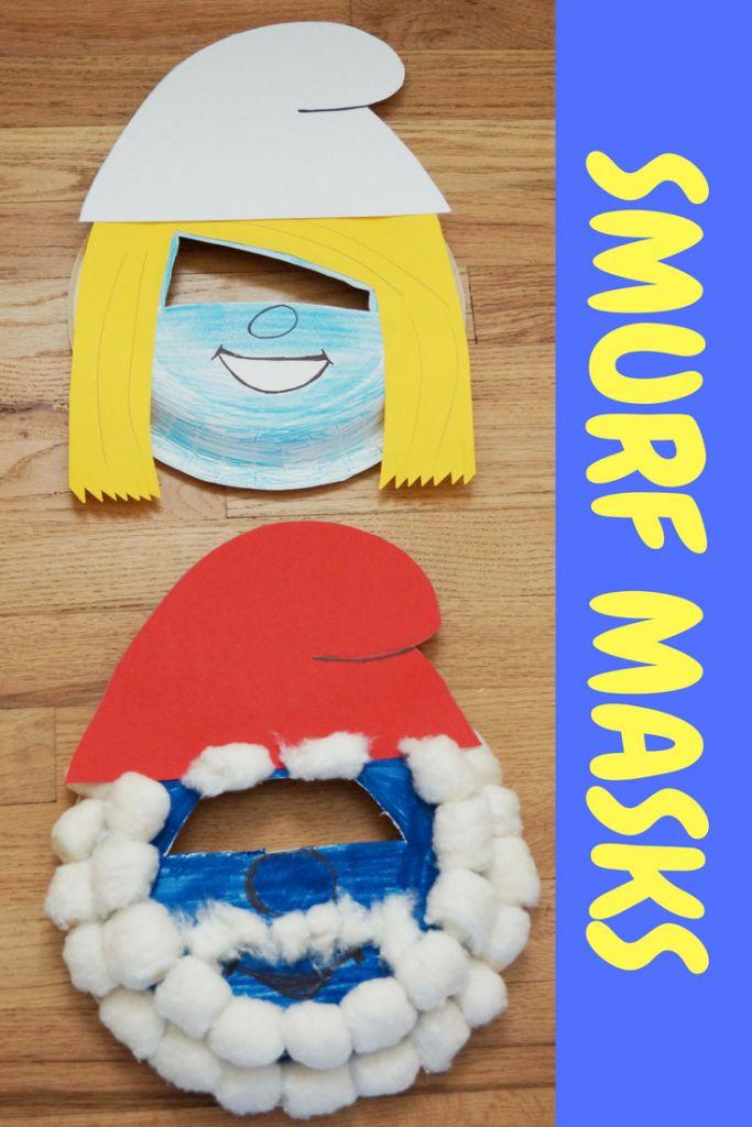 Smurfs the Lost Village Movie - Easy paper Plate Smurf Masks Craft #SmurfsMovie #ad #RWM @SmurfsMovie