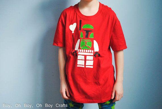 Stenciled Bobba Fett T-shirt by BeatnikKids on Etsy