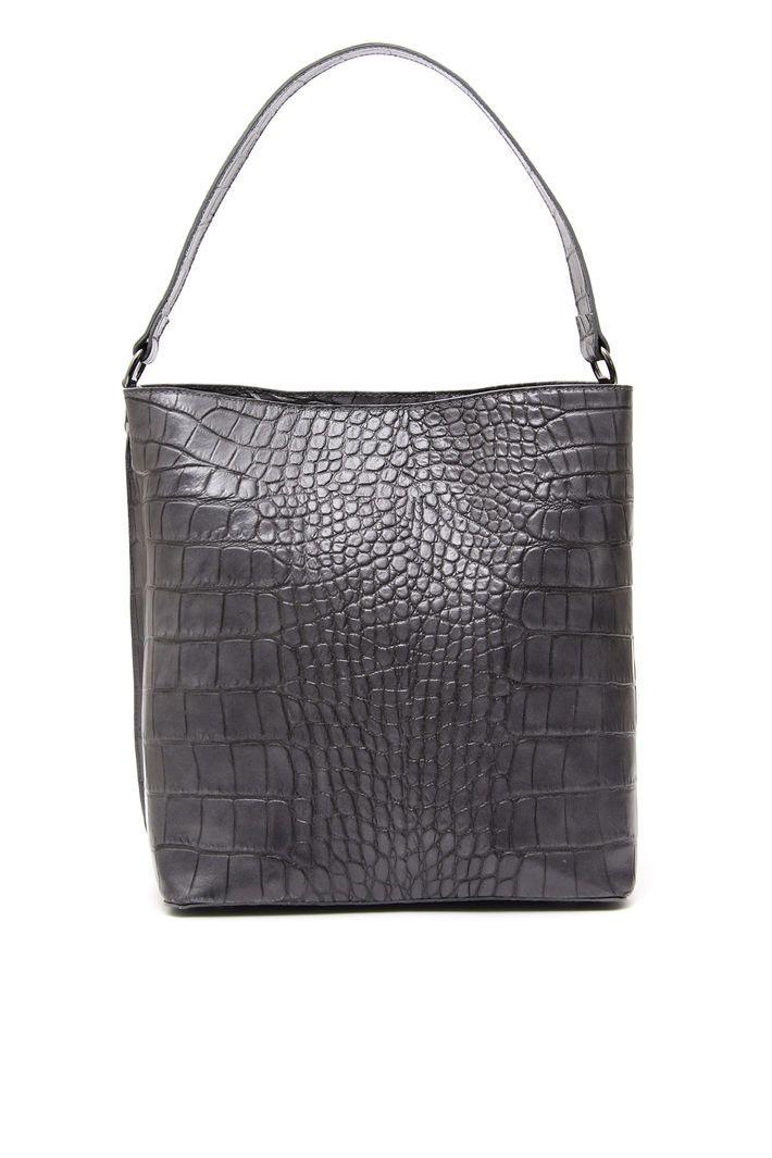 41d5adb816 Tote bag in pelle, grigio scuro - Diffusione Tessile   020118 ...