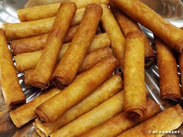 Lumpia. This is the closest to the recipe my family uses. Lumipa is like spaghetti sauce in that everyone has a slightly different way to make it, but every recipe is right. =)