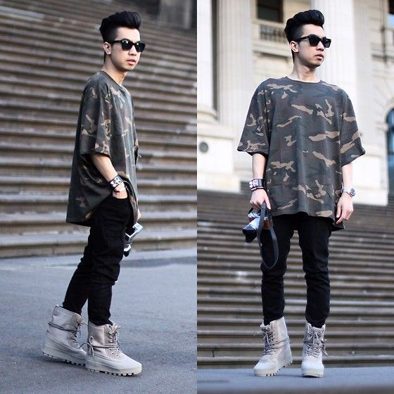 Get this look: http://lb.nu/look/7882346  More looks by Austin Levine: http://lb.nu/austinlevine  Items in this look:  Adidas Yeezy T Shirt, Adidas Yeezy Boots Yeezy 950   #edgy #grunge #street
