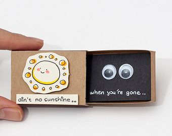 """Funny Missing you Card / Cute Thinking of you Card/ Gift box / Message box """" Ain't no sunshine when you're gone"""""""