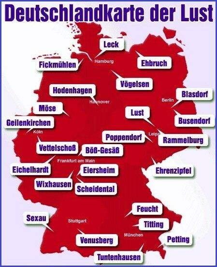 Diese Deutschland-Karte ist LUSTig - Komische Ortsnamen