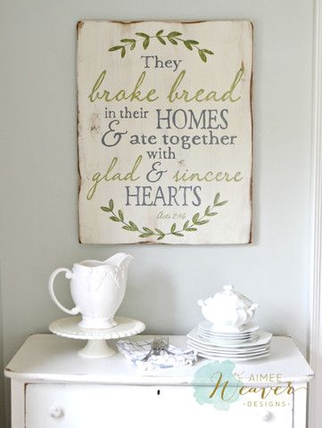 """They Broke Bread"" Wood Sign {customizable} - Aimee Weaver Designs"