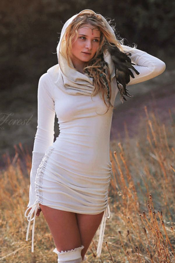 .Thermal Winter Dress with Cowl Hood