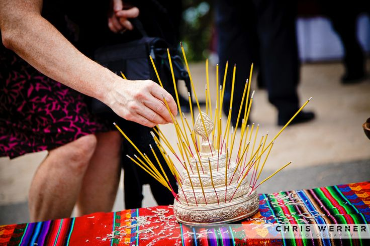 Buddhist wedding ceremony ideas. Incense for a wedding ceremony. More great wedding ceremony flower, sign, and decoration ideas at: chriswernerphoto.com/blog/2011/03/lake-tahoe-wedding-ideas-planning-a-lake-tahoe-wedding
