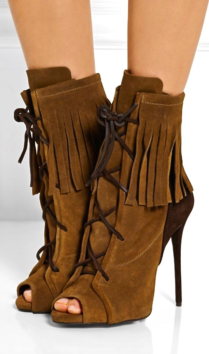 Giuseppe Zanotti fringed chocolate and tan suede ankle boots