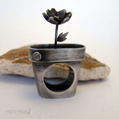 """Серебряное кольцо """"Комнатное растение"""" - серебряный,цветок,растение,горшок"""