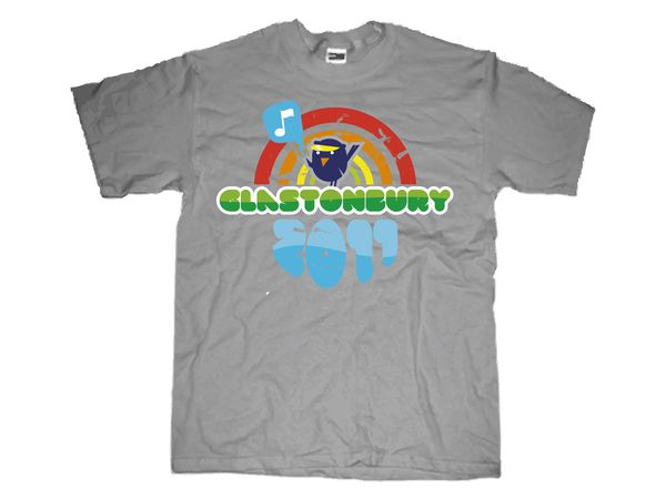this shirt is for the glastonbury festival and it has a colourful logo on a grey shirt that could be coloured instead