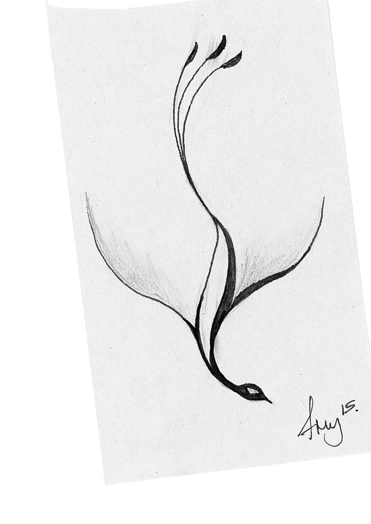 couldn't find a really simple phoenix tattoo so sketched one myself!  excuse rubber marks...poss. to go small on the ankle