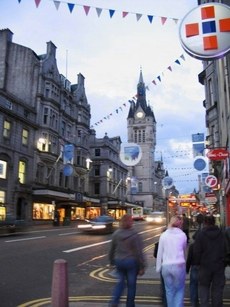 Union Street, Aberdeen, Scotland, UK. The lighted store across the street, is Esslemont and Macintosh. Got my first job there when I was fifteen. Long time ago.