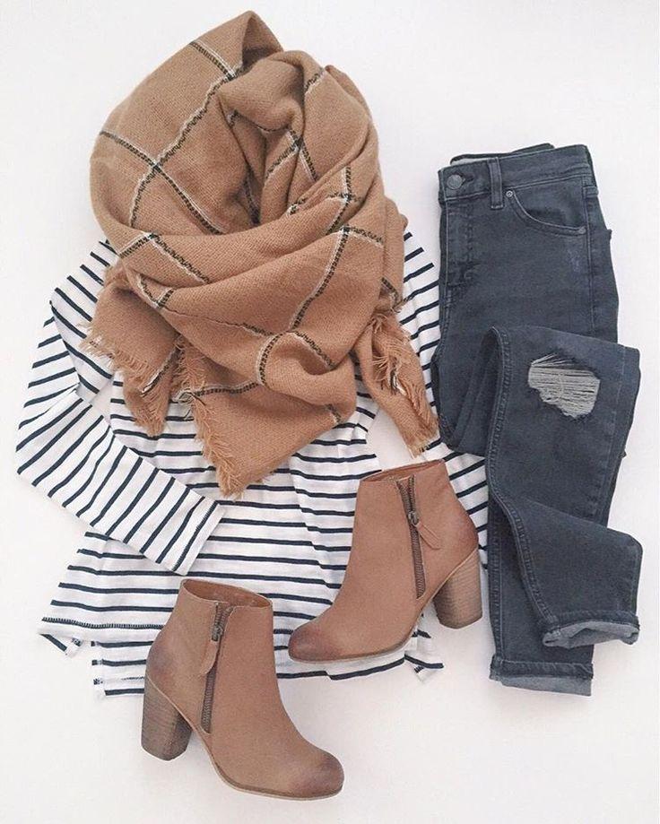 Strip top, camel booties, grey jeans