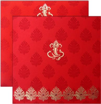 Red Card With Gold Print Shubhankarweddinginvitations