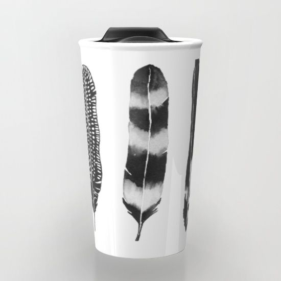 Dark Feather Travel Mug #coffee #travel #travelmug #art #feathers #watercolor #black&white #tribal #bohemain #boho #minimal #nature #watercolorfeathers #watercolor #watercolorart #grey  #artist #artwork