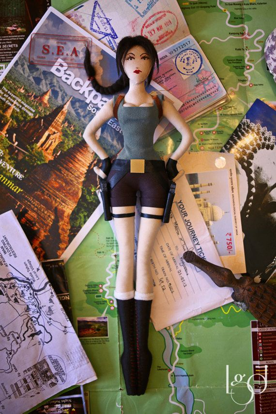 Tomb Raider Lara Croft Rag Doll Collectible Toy Game by LocoGlam