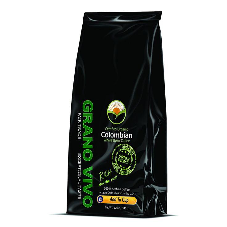 Colombian coffee beans by grano vivo fair trade organic
