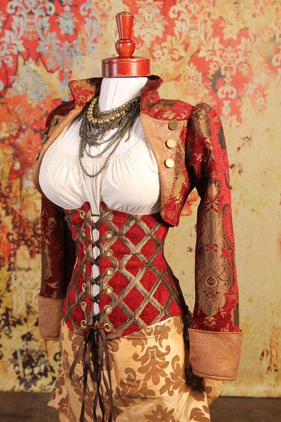 Size MediumLarge Red and Gold Medallion by damselinthisdress