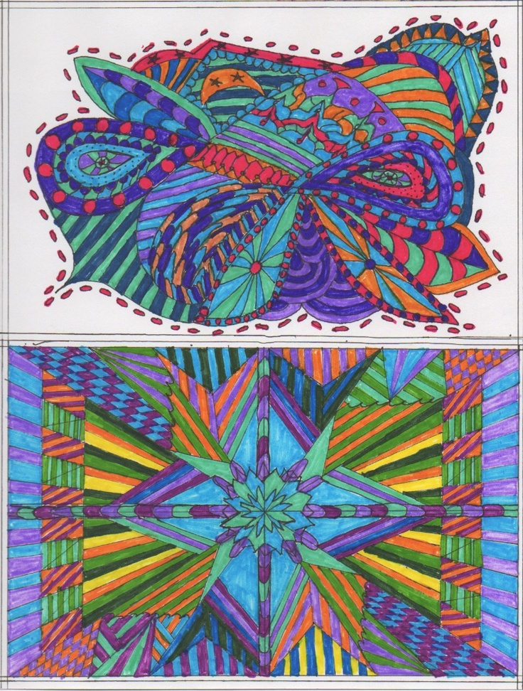 Zentangle 8 - art - my creation: Color Doodles Mandala Art