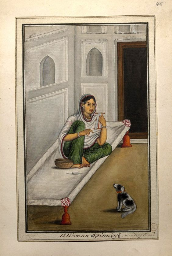 A woman seated inside a room on a charpai, winding thread, watched by a dog. Lucknow, c.1815-20: