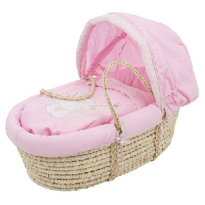 Pink B is for Bear Obaby Moses Basket