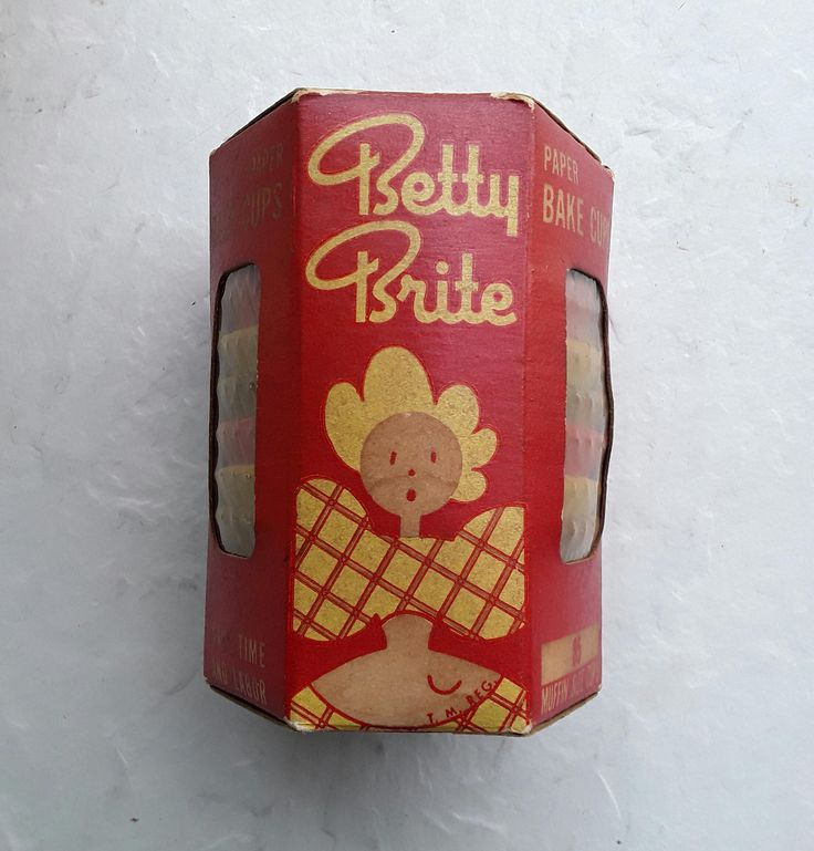 Vintage Betty Brite Paper Bake Cups Full Box Of 85 Mid-Century NOS Recipe Inside by VintageTennHouse on Etsy