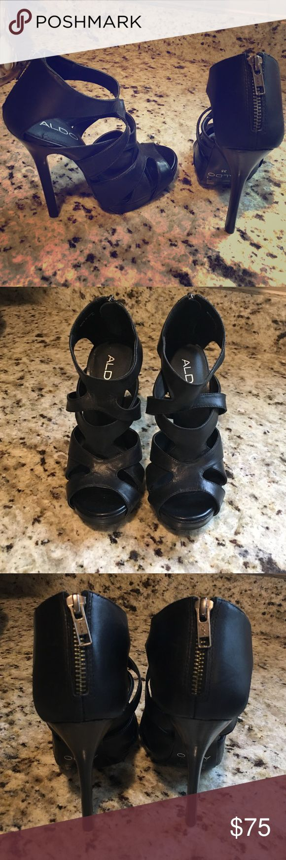 Brand New Aldo Heels Never worn. No box. Cute zipper detail on back of shoe. Aldo Shoes Heels