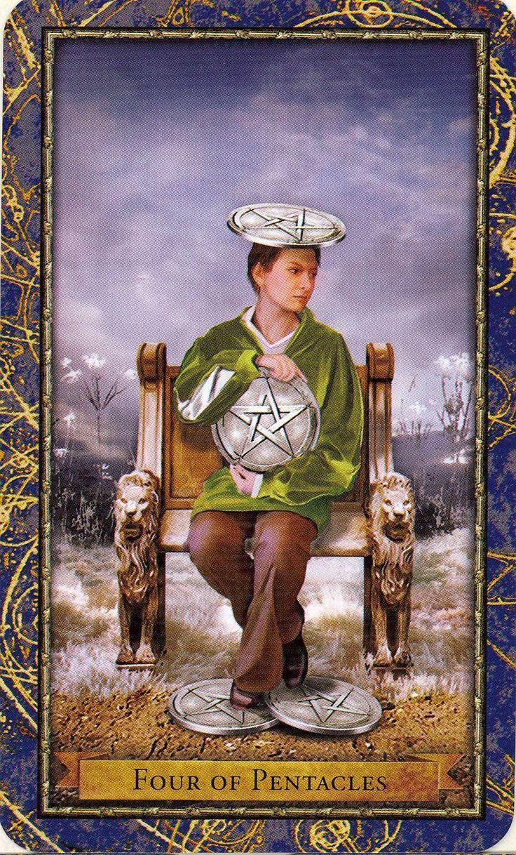 Four of Pentacles ~ Wizards Tarot deck -If you love Tarot, visit me at www.WhiteRabbitTarot.com