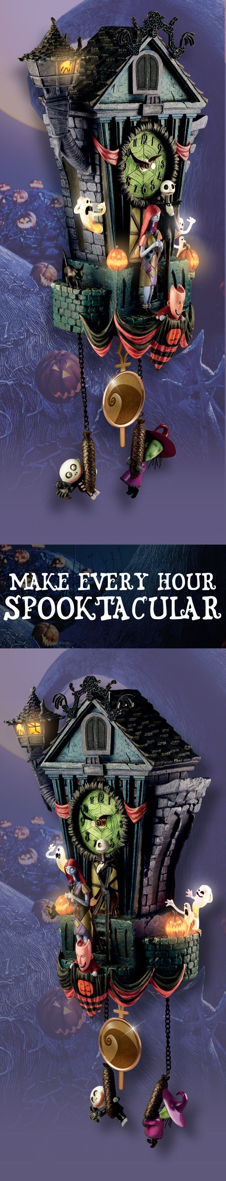 Who is your favorite character from Tim Burton's now-iconic film, The Nightmare Before Christmas: Jack Skellington, Sally, Dr. Finkelstein, Oogie Boogie, or another of Halloweentown's delightful denizens? They are all here to make every hour spooktacular with this Nightmare Before Christmas cuckoo clock.