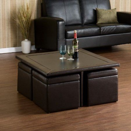 Convenient square coffee table with nested ottomans that also have storage inside. : storage coffee table sets - pezcame.com
