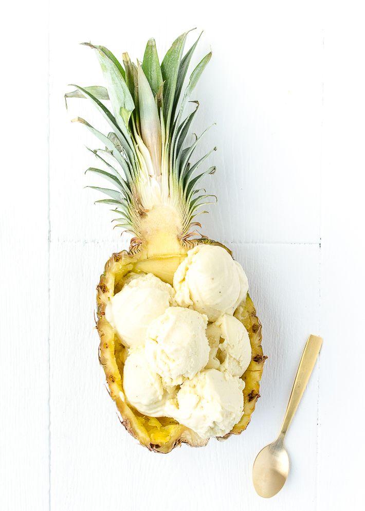 Pineapple coconut ice cream. Delicious summer treat.