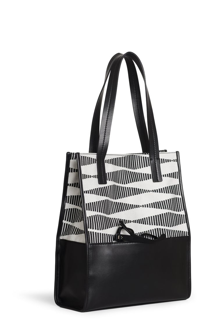 "Sara C. Milano ""SQUAREBOX 1"" Bag. Black and White Jacquard Fabric + Black Calf Leather. Handmade in Italy."